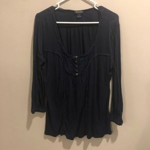 Lucky brand long sleeve blouse navy blue